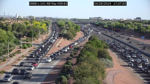 Northbound traffic on Loop 101 at Ray Road was being forced off the freeway after a multi-vehicle crash on the afternoon of April 25, 2019.
