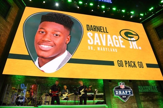 Apr 25, 2019; Nashville, TN, USA; Darnell Savage Jr. (Maryland) is selected as the number twenty-one overall pick to the Green Bay Packers in the first round of the 2019 NFL Draft in Downtown Nashville. Savage was not in attendance.Sports