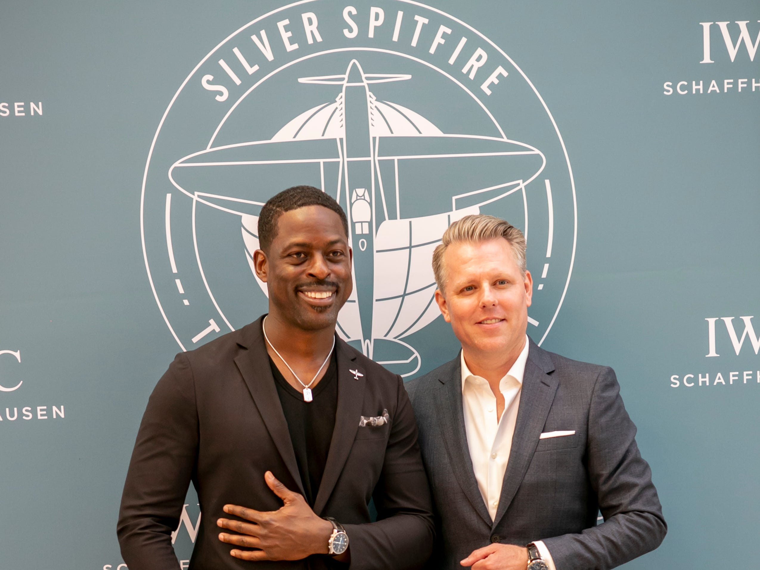 """This Is Us"" actor Sterling K. Brown and IWC Schaffhausen's North American president Darin Rabb during a launch party for the Spitfire collection at the Scottsdale Fashion Square, Thursday, April 25, 2019."