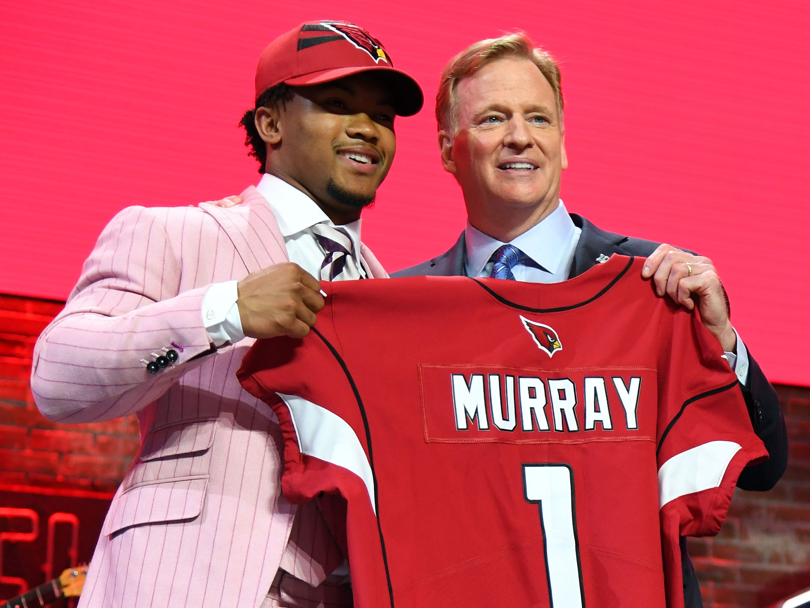 Apr 25, 2019; Nashville, TN, USA; Kyler Murray (Oklahoma) is selected as the number one overall pick to the Arizona Cardinals in the first round of the 2019 NFL Draft in Downtown Nashville. At right is NFL commissioner Roger Goodell.