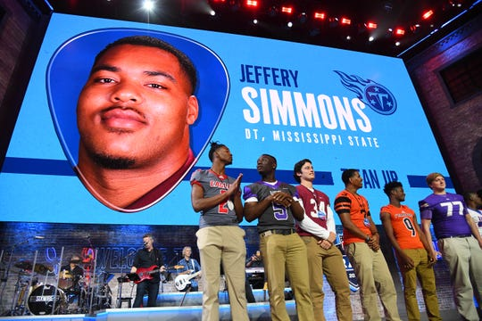 Apr 25, 2019; Nashville, TN, USA; Jeffery Simmons (Mississippi State) is selected as the number nineteen overall pick to the Tennessee Titans in the first round of the 2019 NFL Draft in Downtown Nashville.