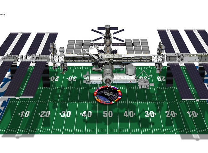 The International Space Station is about the size of a football field and includes living space for astronauts and solar rays.