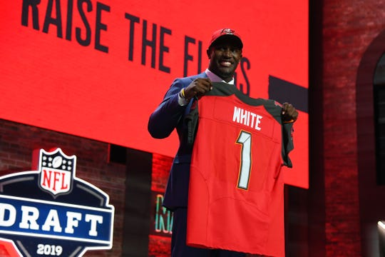 Apr 25, 2019; Nashville, TN, USA; Devin White (Louisiana State) is selected as the number five overall pick to the Tampa Bay Buccaneers in the first round of the 2019 NFL Draft in Downtown Nashville.