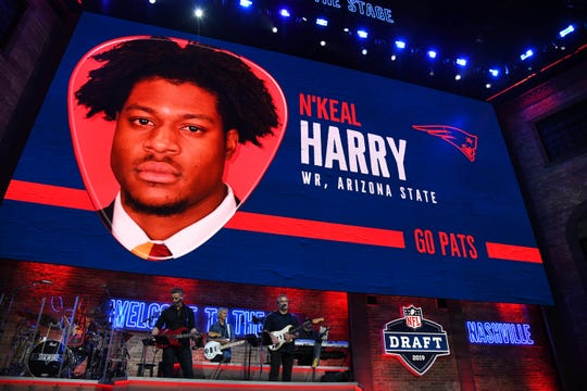 Apr 25, 2019; Nashville, TN, USA; N'Keal Harry (Arizona State) is selected as the number thirty-two overall pick to the New England Patriots in the first round of the 2019 NFL Draft in Downtown Nashville. Harry was not in attendance.