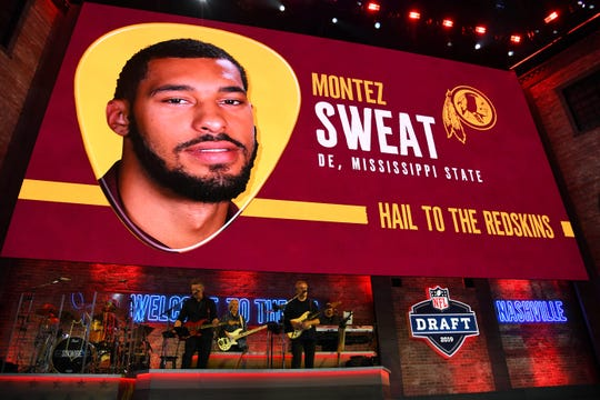 Apr 25, 2019; Nashville, TN, USA; Montez Sweat (Mississippi State) is selected as the number twenty-six overall pick to the Washington Redskins in the first round of the 2019 NFL Draft in Downtown Nashville. Sweat was not in attendance.