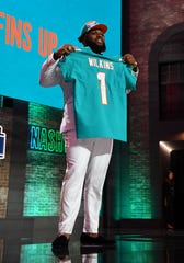 Apr 25, 2019; Nashville, TN, USA; Christian Wilkins (Clemson) is selected as the number thirteen overall pick to the Miami Dolphins  in the first round of the 2019 NFL Draft in Downtown Nashville.