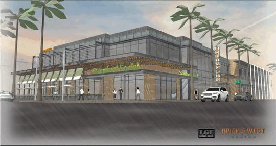A rendering of the proposed mixed-use development on Buffalo Street and Arizona Avenue.