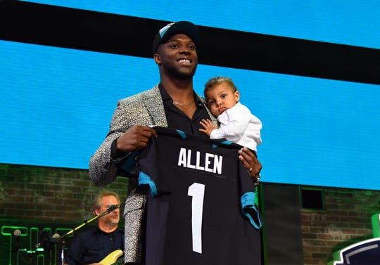 Apr 25, 2019; Nashville, TN, USA; Josh Allen (Kentucky) is selected as the number seven overall pick to the Jacksonville Jaguars in the first round of the 2019 NFL Draft in Downtown Nashville.