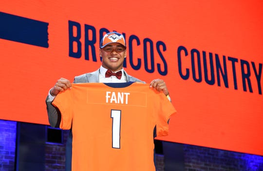 Apr 25, 2019; Nashville, TN, USA; Noah Fant (Iowa) is selected as the number twenty overall pick to the Denver Broncos in the first round of the 2019 NFL Draft in Downtown Nashville.
