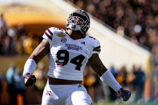 Mississippi State defensive tackle Jeffery Simmons celebrates after a sack during a game against Iowa in the Outback Bowl at Raymond James Stadium.