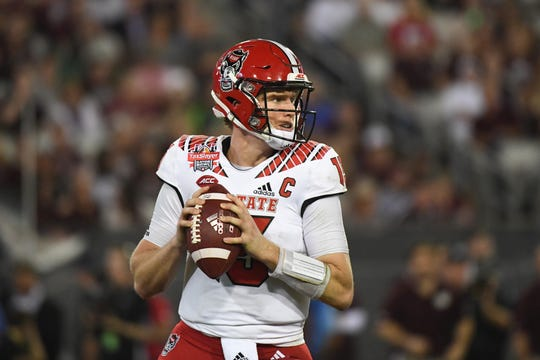 N.C. State quarterback Ryan Finley looks to pass during a game against the Texas A&M.