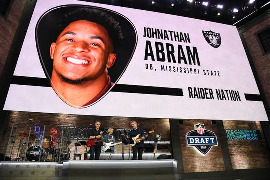 Apr 25, 2019; Nashville, TN, USA; Johnathan Abram (Mississippi State) is selected as the number twenty-seven overall pick to the Oakland Raiders in the first round of the 2019 NFL Draft in Downtown Nashville. Abram was not in attendance.