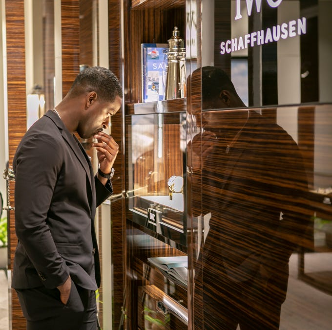 """This Is Us"" actor Sterling K. Brown at IWC Schaffhausen's launch party for the Spitfire collection at the Scottsdale Fashion Square, Thursday, April 25, 2019."