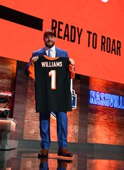Apr 25, 2019; Nashville, TN, USA; Jonah Williams (Alabama) is selected as the number eleven overall pick to the Cincinnati Bengals in the first round of the 2019 NFL Draft in Downtown Nashville.