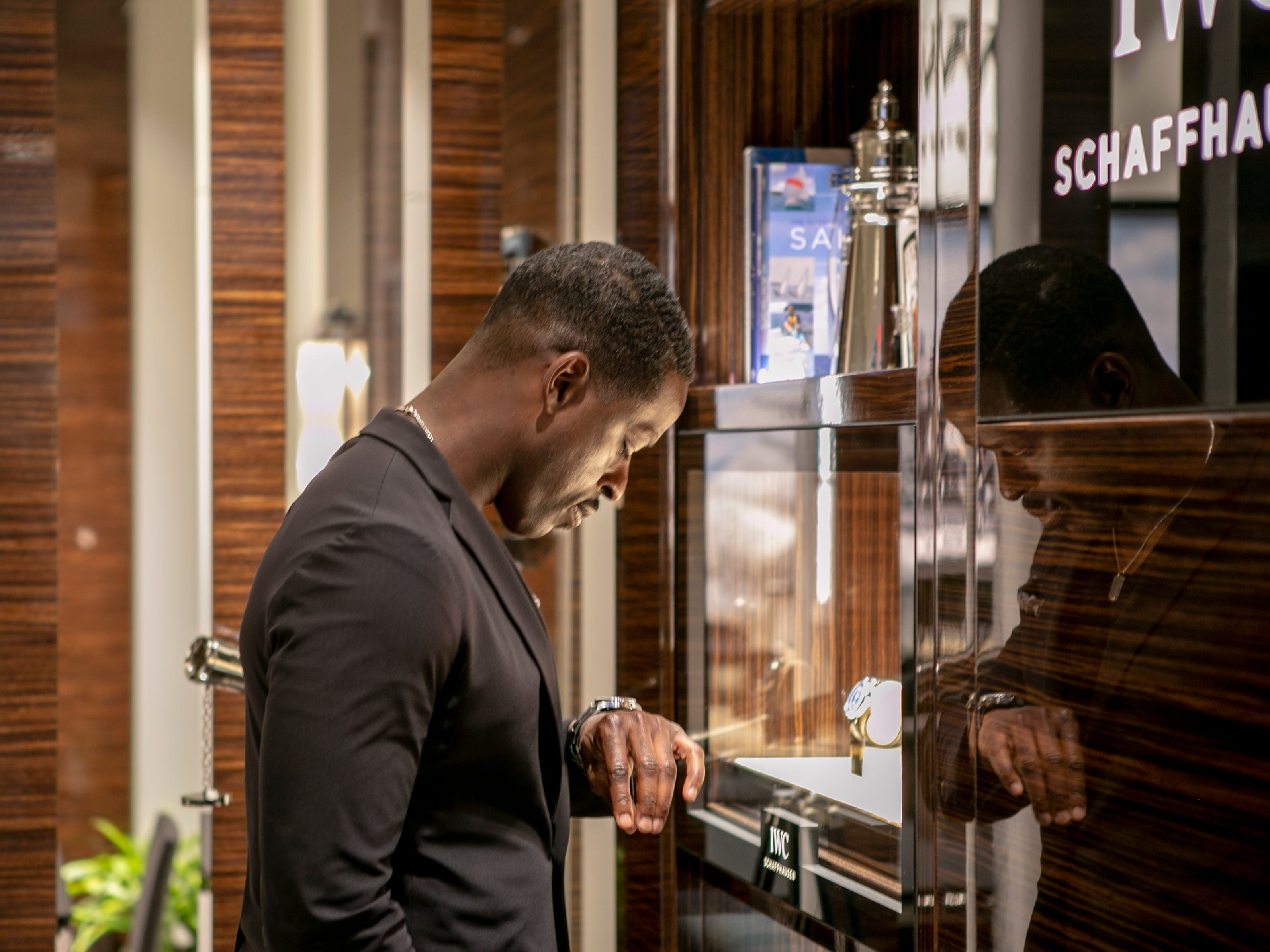 Emmy award-winning actor Sterling K. Brown at IWC Schaffhausen's launch party for the Spitfire collection at the Scottsdale Fashion Square, Thursday, April 25, 2019.