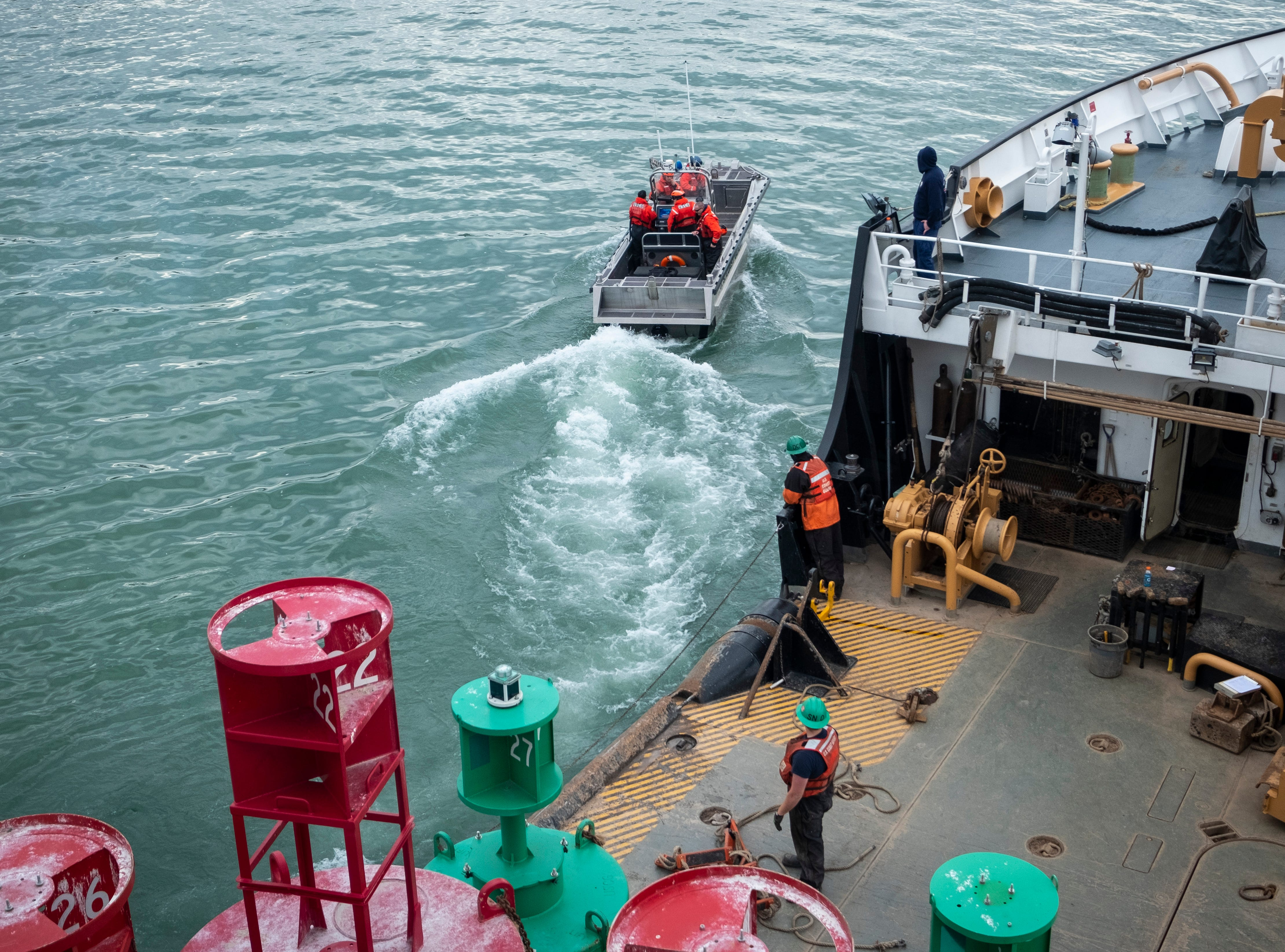 The Hollyhock's ATON boat pulls away from the ship's buoy deck after all crewmembers have boarded Thursday morning, April 25, 2019.