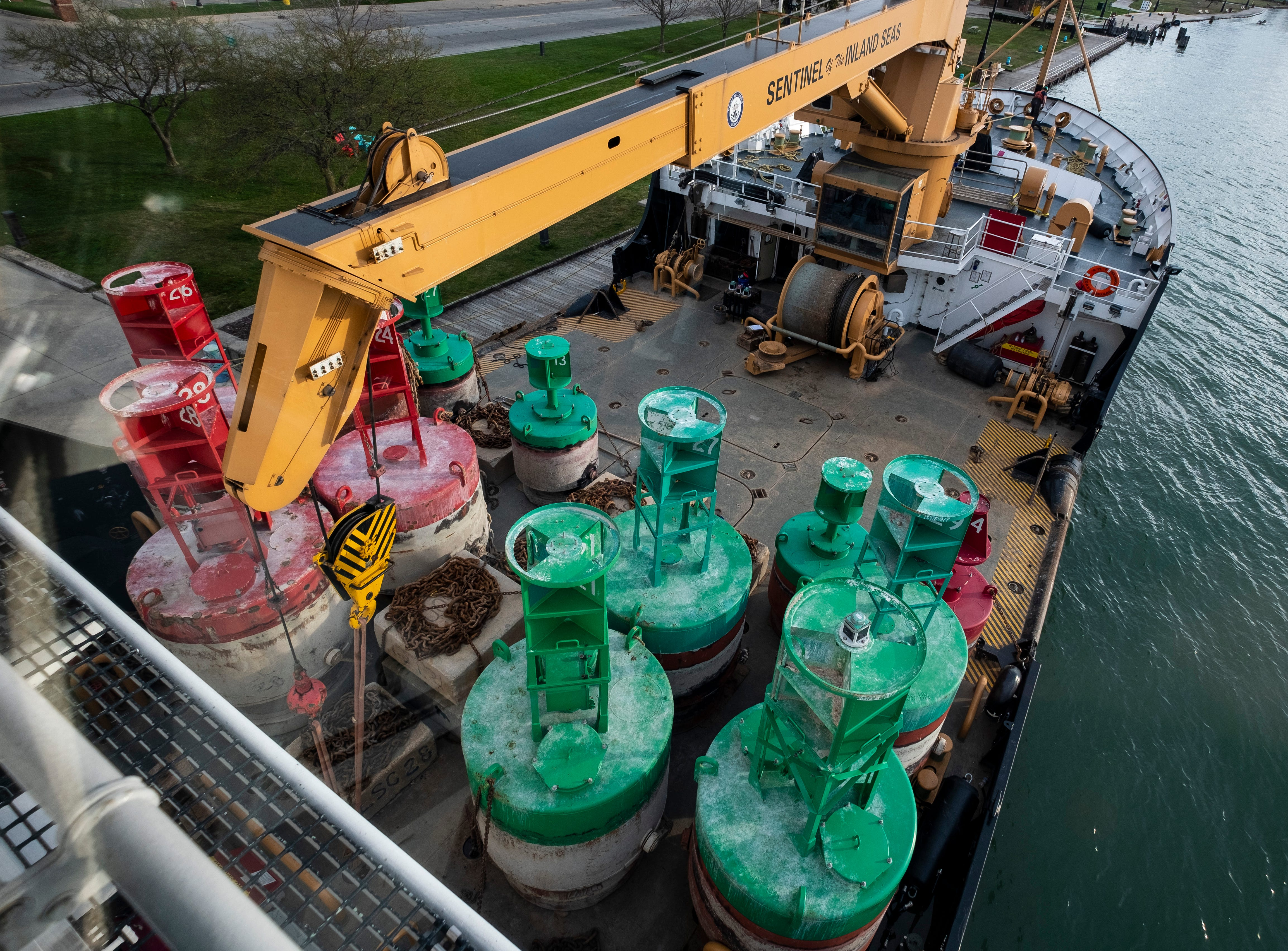 Buoys of different sizes cover part of the USCGC Hollyhock's buoy deck Thursday morning, April 25, 2019, before leaving its mooring along the pier in Algonac. The day's schedule is to work 17 buoys between the southern end of the St. Clair River and Lake St. Clair, which is more than the usualy six to eight the crew normally does in a day.