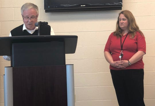 Amy Smith was named York County 911 supervisor of the year at a ceremony on April 18, 2019. York County Commissioner Doug Hoke spoke about Smith at the ceremony.