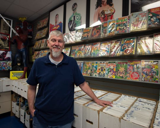 Ned Senft, co-owner of Comix Collection in York on April 26, 2019. Senft has closed both Comix Collection locations in York and Mechanicsburg, Pa. His team has begun using a mailing comics and purchases to subscribers and new customers during the statewide shutdown due to the coronavirus outbreak.