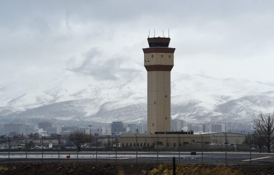 The air traffic control tower is seen at the Reno-Tahoe International Airport on Feb. 13, 2019.