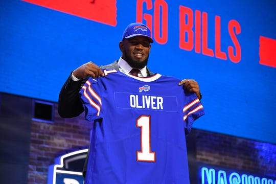 Ed Oliver (Houston) is selected as the number nine overall pick by the Buffalo Bills in the 2019 NFL Draft in Downtown Nashville.