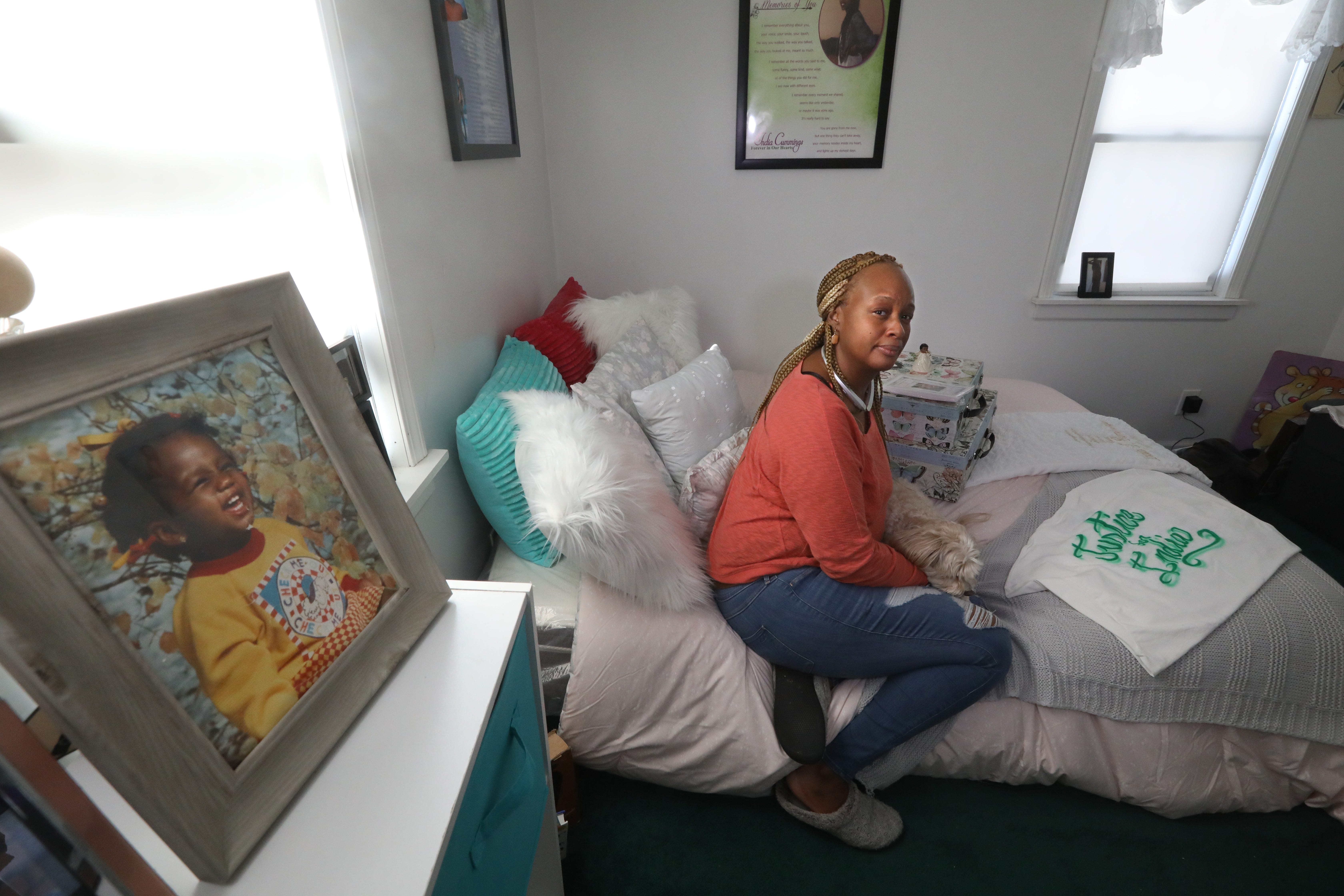 Tawana Wyatt, mother of India Cummings, sits in her India-memorial bedroom she has set up in her Rochester home Friday, March 1, 2019.