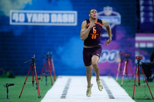 Buffalo quarterback Tyree Jackson runs the 40 yard dash during the 2019 NFL Combine at Lucas Oil Stadium.