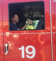 """""""Clutch"""" was rescued this week by Sacramento firefighters after traveling from Salinas to Arden Fair mall stuck in an engine compartment."""