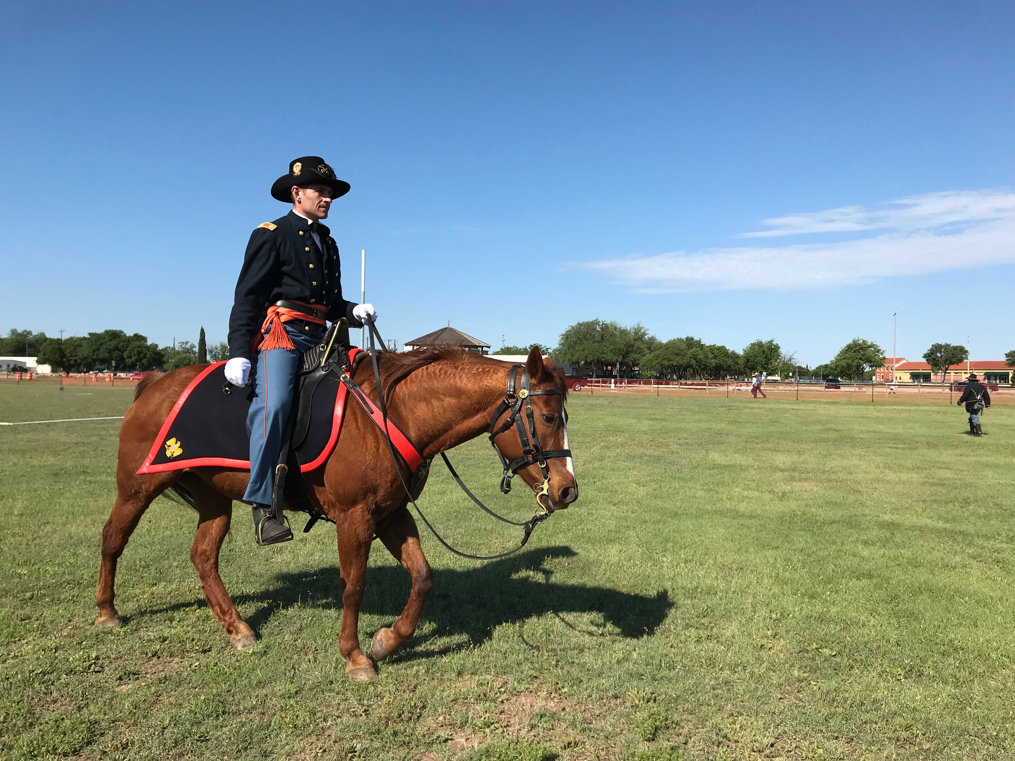 A rider finishes his course at the Regional Cavalry Competition at Fort Concho, 630 S. Oakes St. on Friday, April 26, 2019.