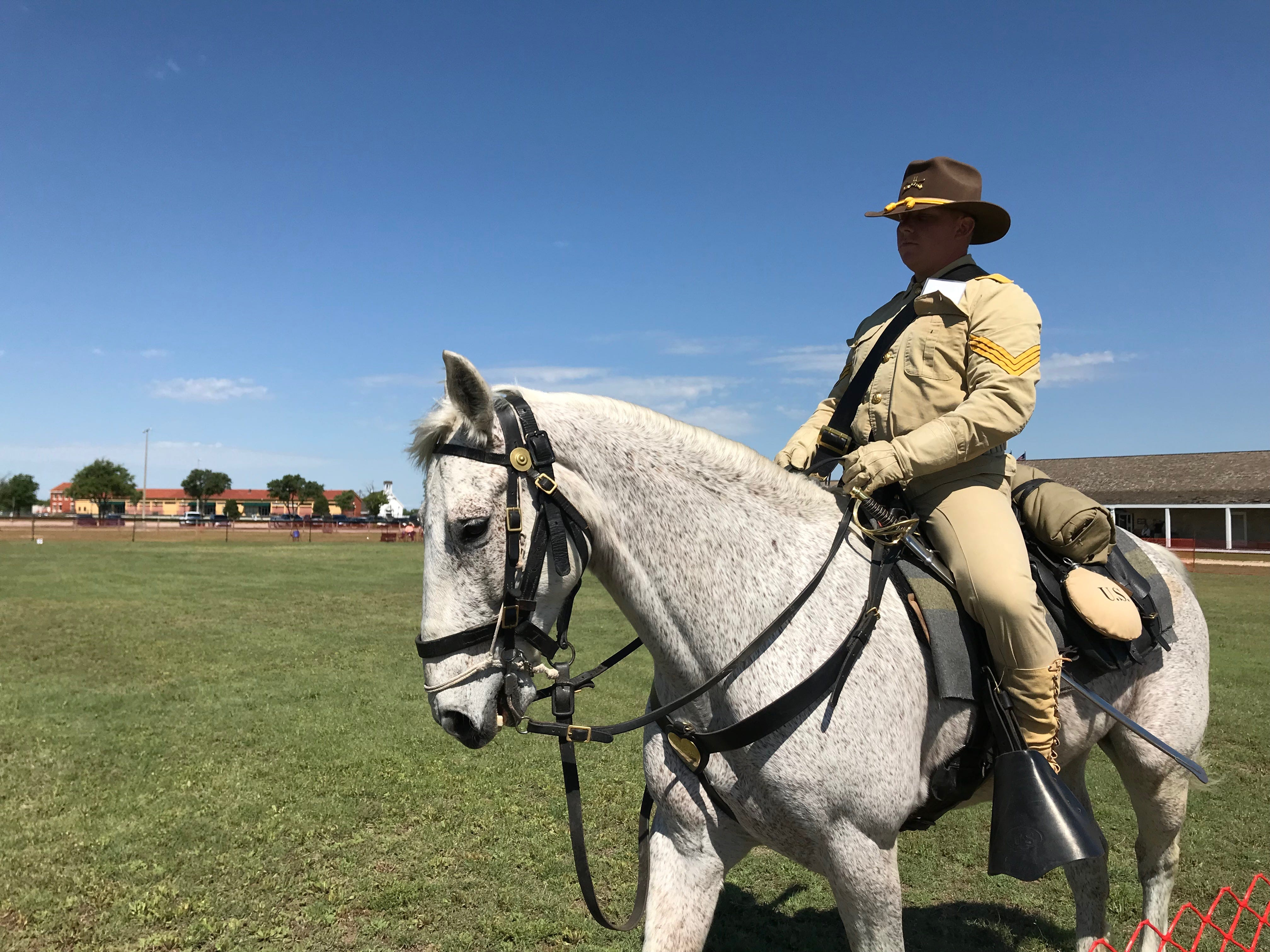 Anthony Morton, from Fort Irwin, California, begins the course at the Regional Cavalry Competition at Fort Concho, 630 S. Oakes St. on Friday, April 26, 2019.