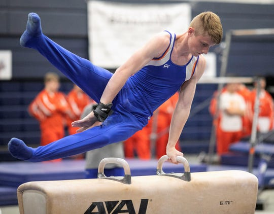 San Angelo Central's Hunter Walker competes on pommel horse at the Texas High School State Gymnastics Championships in Bryan Friday, April 26, 2019.