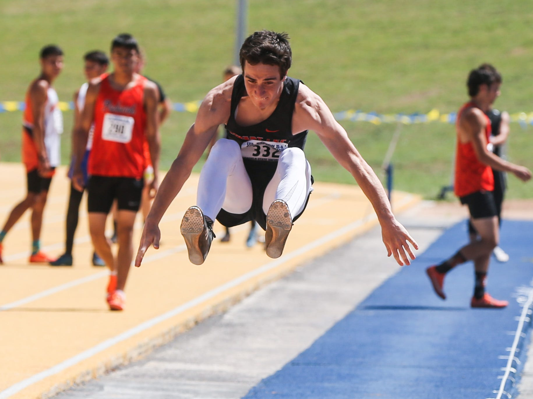Robert Lee's Lane Fowler jumps the long jump during the Region II-1A championships Friday, April 26, 2019, at Angelo State University.
