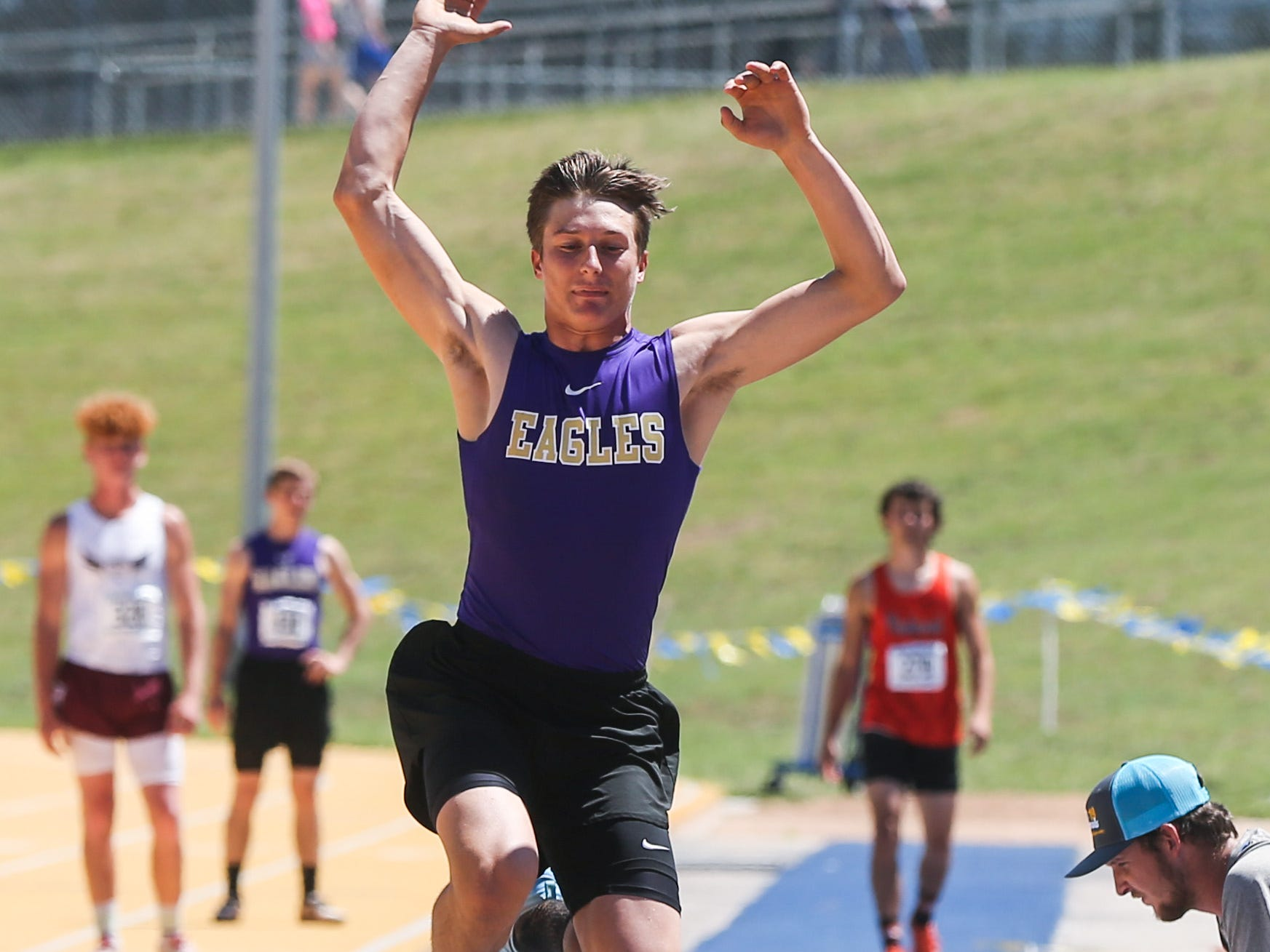 Sterling City's Quinton McMullan competes in the boys long jump during the Region II-1A championships Friday, April 26, 2019, at Angelo State University.