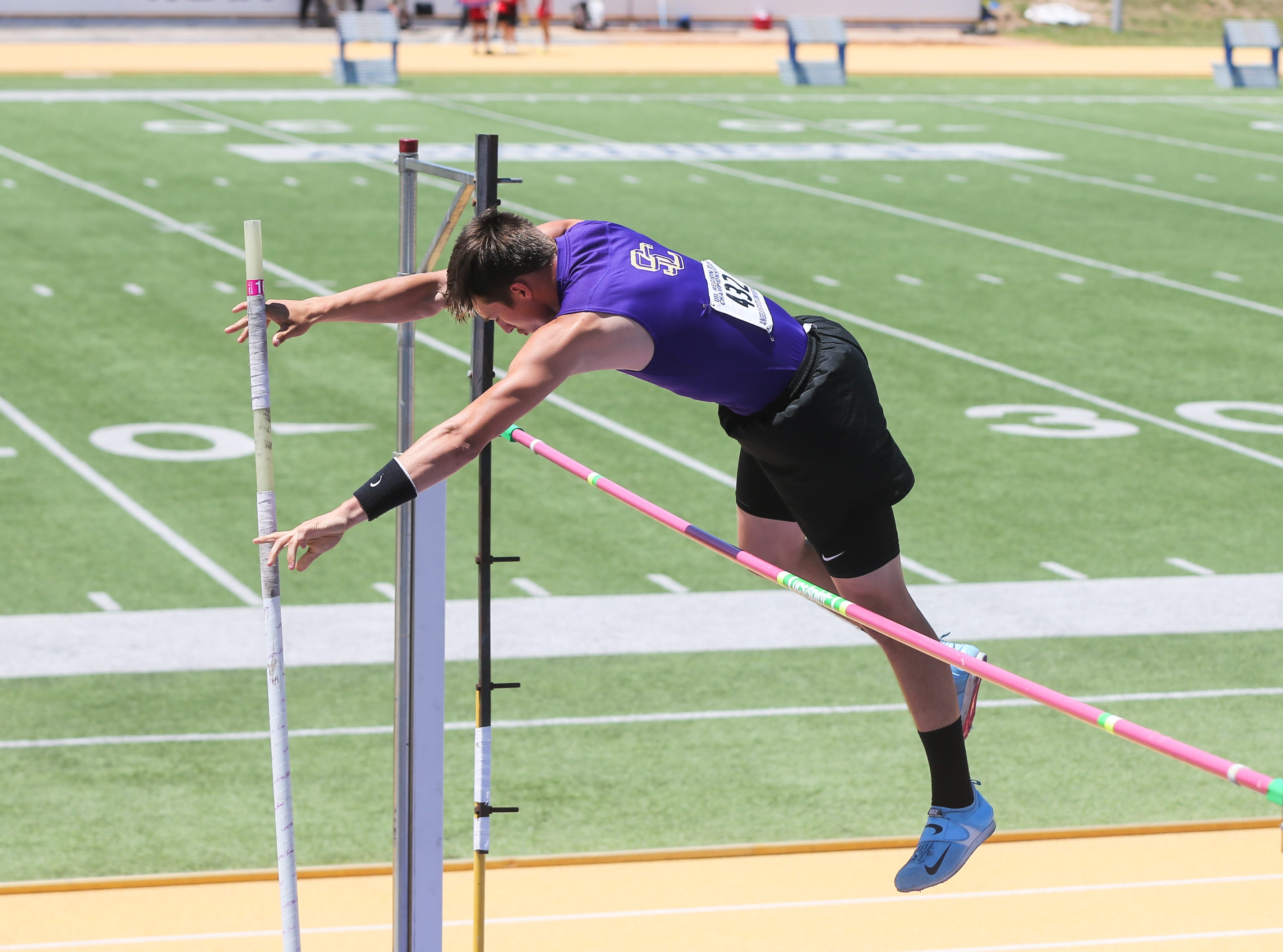 Sterling City 's Quinton McMullan competes in the boys pole vault during the Region II-1A championships Friday, April 26, 2019, at Angelo State University.
