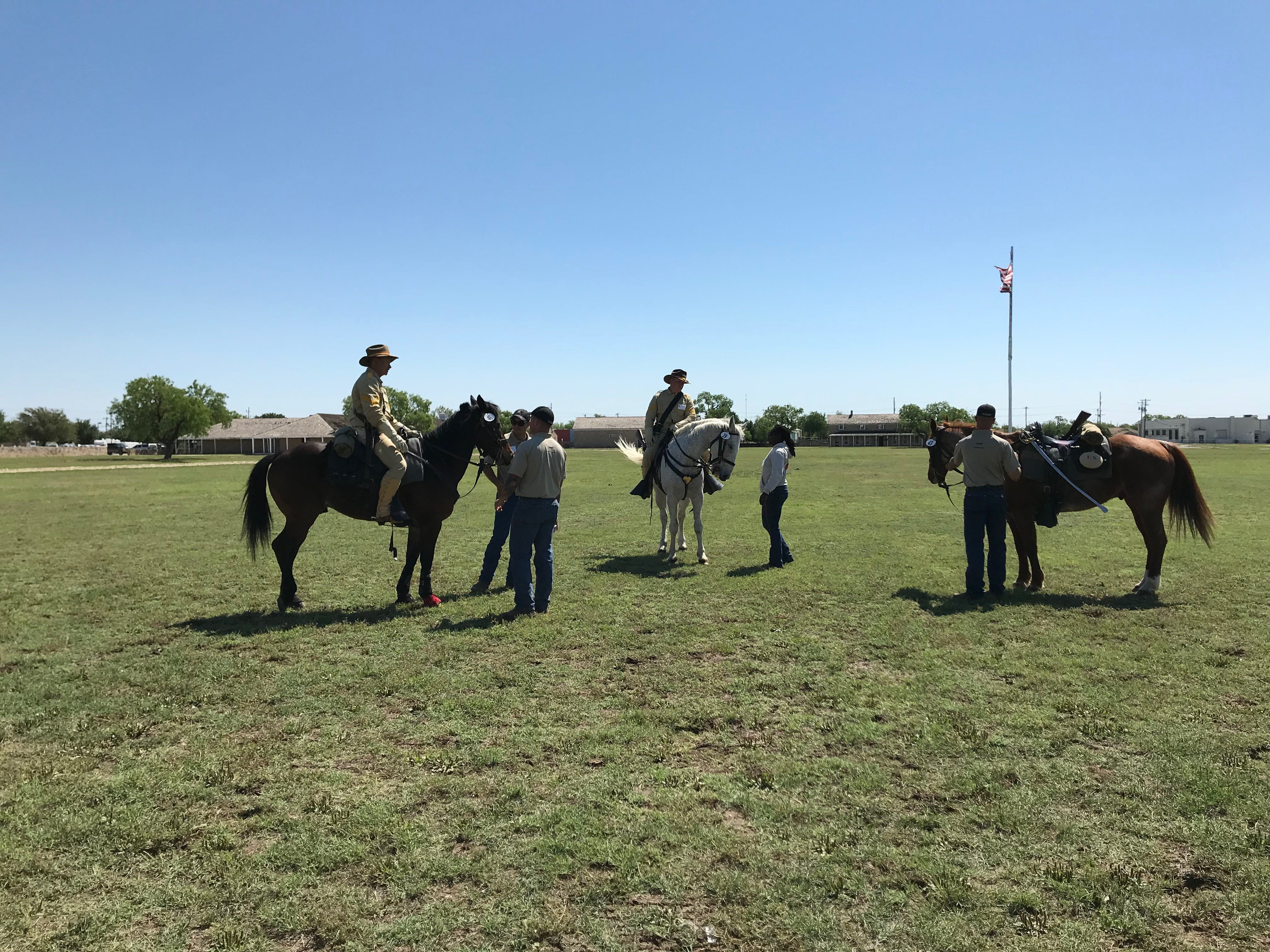 The riders and horses at the Regional Cavalry Competition bask in the sun at Fort Concho, 630 S. Oakes St. on Friday, April 26, 2019.