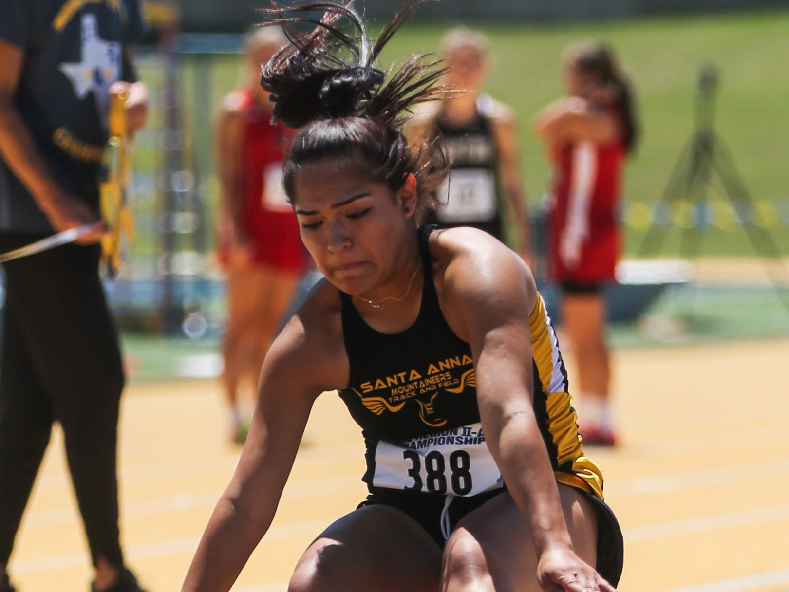Santa Anna's Trinity Sanchez jumps the long jump during the Region II-1A championships Friday, April 26, 2019, at Angelo State University.