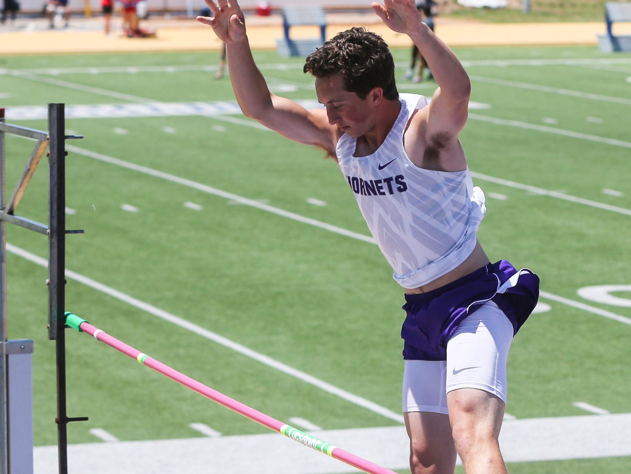 Irion County's Sawyer Paxton  jumps the pole vault during the Region II-1A championships Friday, April 26, 2019, at Angelo State University.