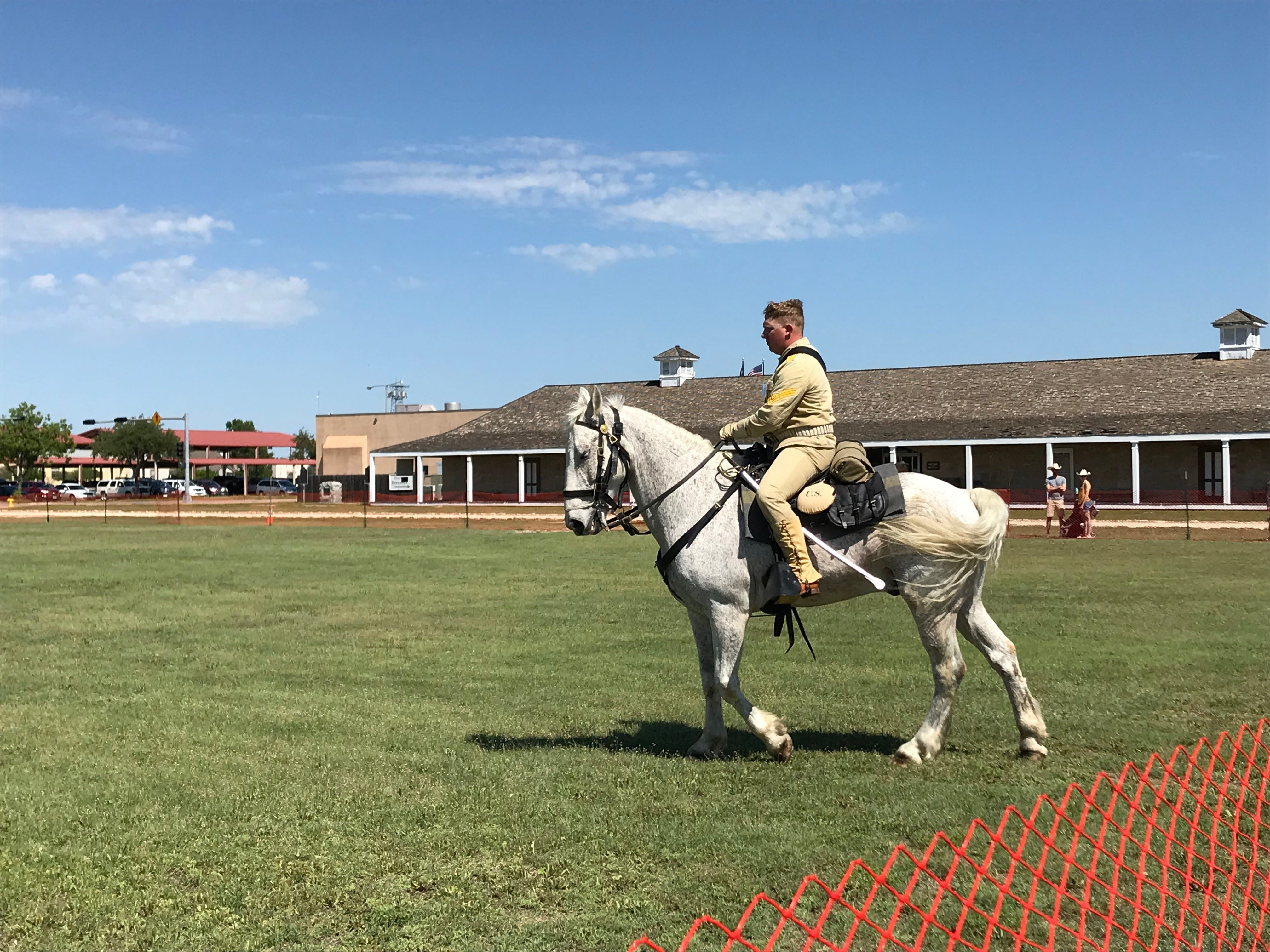 Anthony Morton, from Fort Irwin, California, urges his horse to move at the Regional Cavalry Competition at Fort Concho, 630 S. Oakes St. on Friday, April 26, 2019.