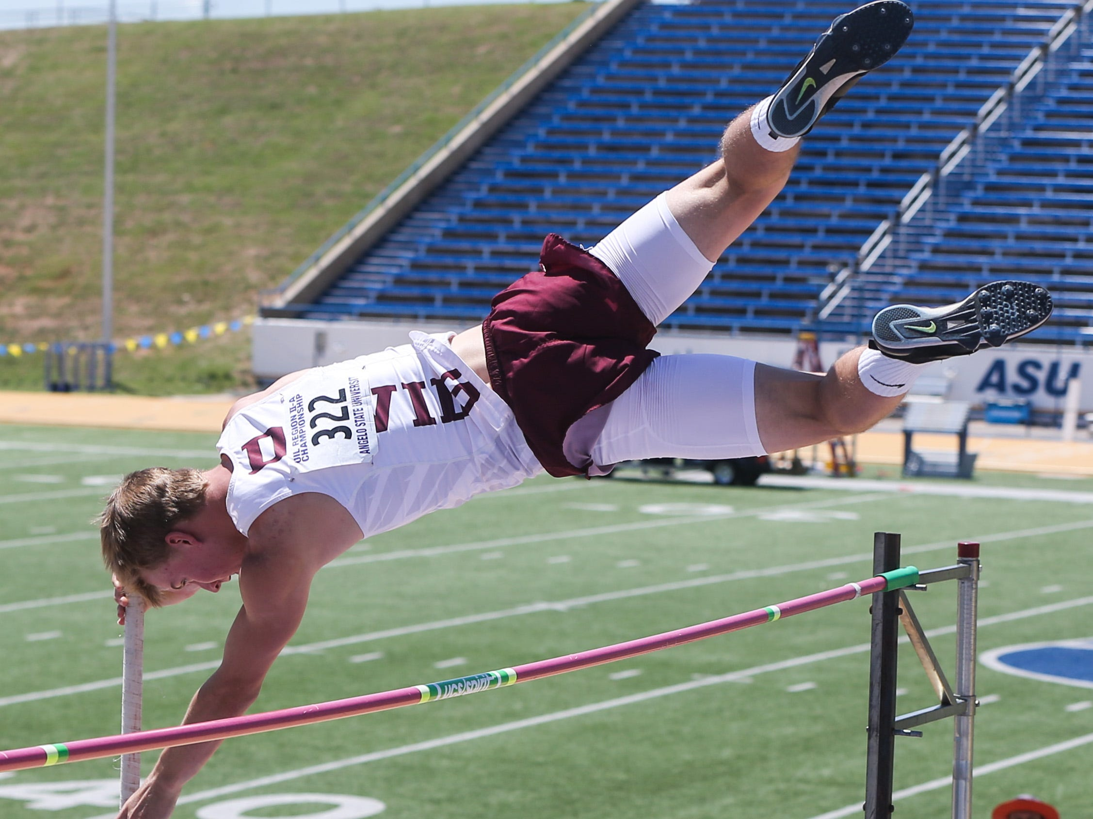 Rankin's Calen Fouts jumps the pole vault during the Region II-1A championships Friday, April 26, 2019, at Angelo State University.