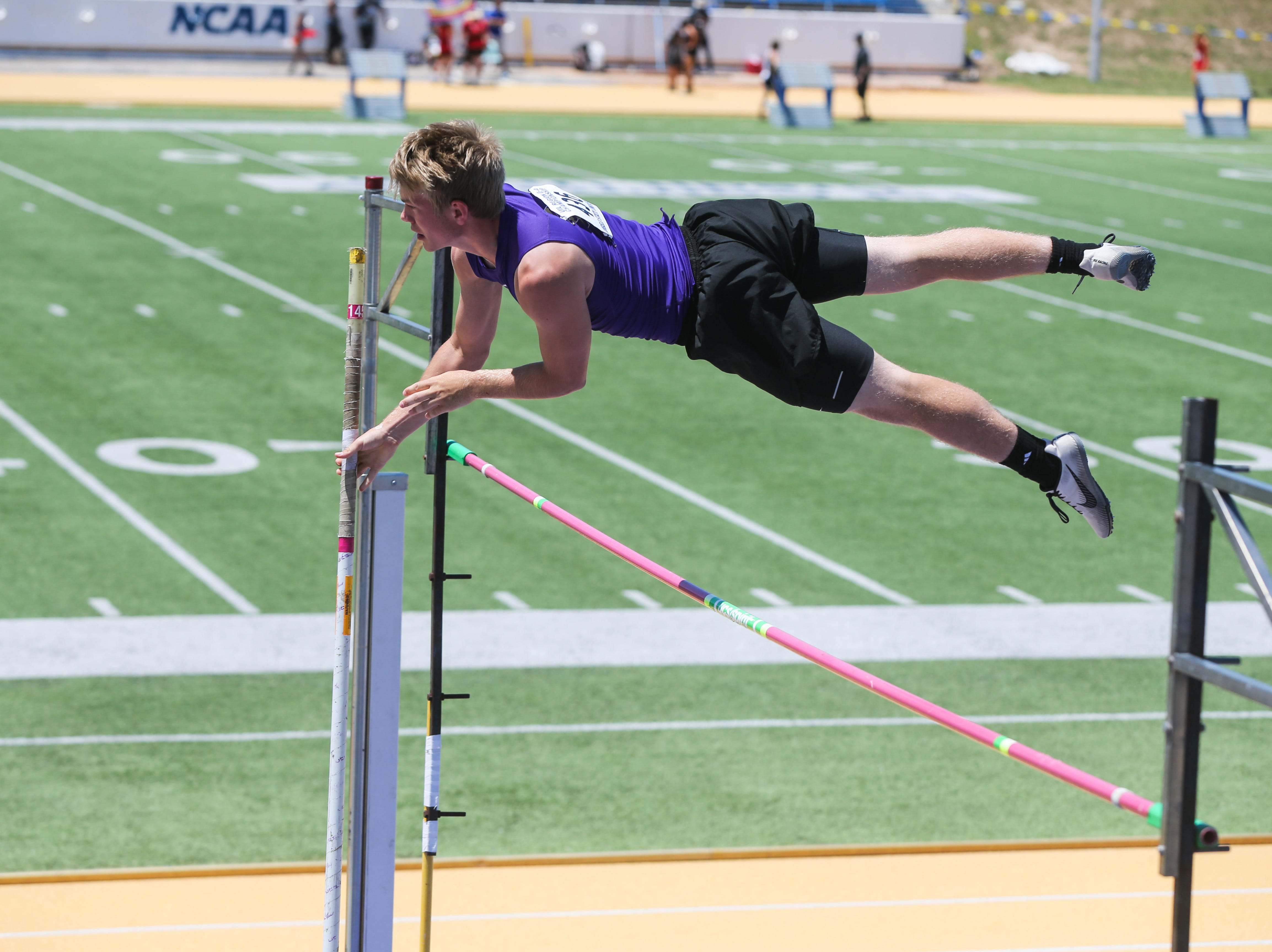 Sterling City's Wyatt Sisco jumps the pole vault during the Region II-1A championships Friday, April 26, 2019, at Angelo State University.