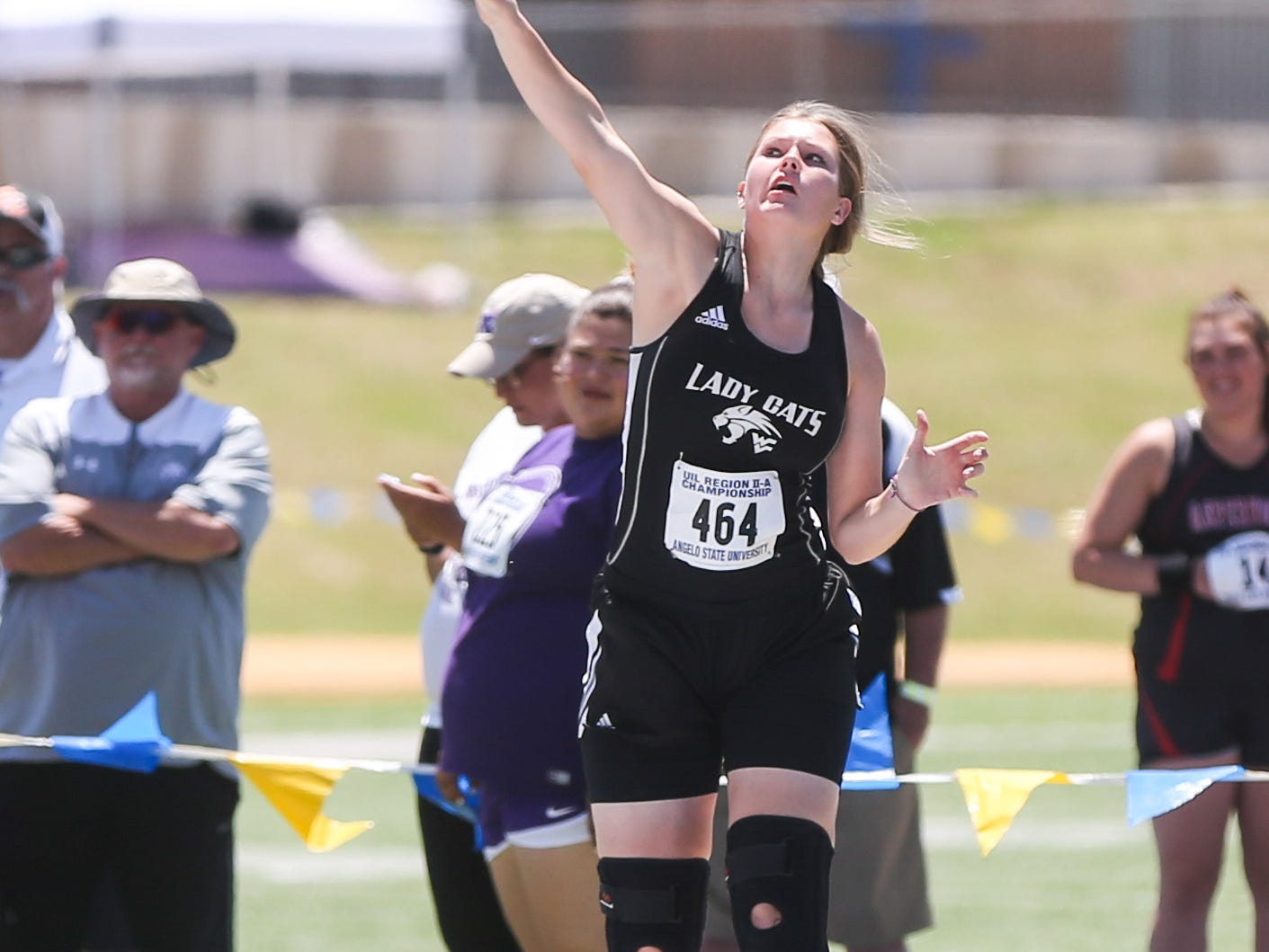 Water Valley's Kendra Hoover throws a shot put during the Region II-1A championships Friday, April 26, 2019, at Angelo State University.