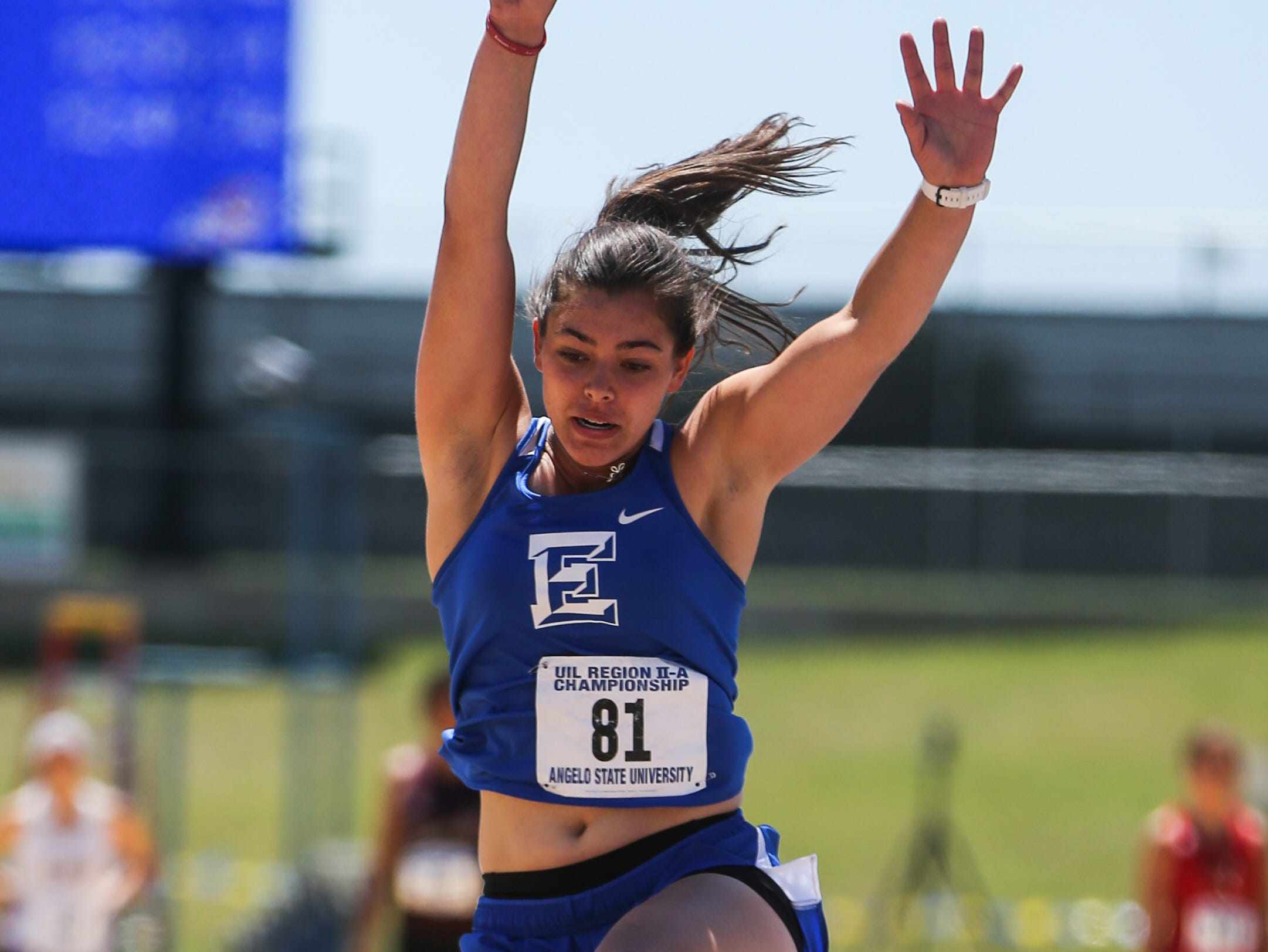 Eden's Emily Bunger jumps the long jump during the Region II-1A championships Friday, April 26, 2019, at Angelo State University.