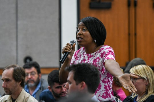 Monica Brooks of Concerned Citizens Against Industrial CAFOs, speaks at a meeting to discuss the poultry air quality monitoring plan at the University of Maryland Eastern Shore on Thursday, April 25, 2019. She said that residents concerns over the issue have been ignored for years.