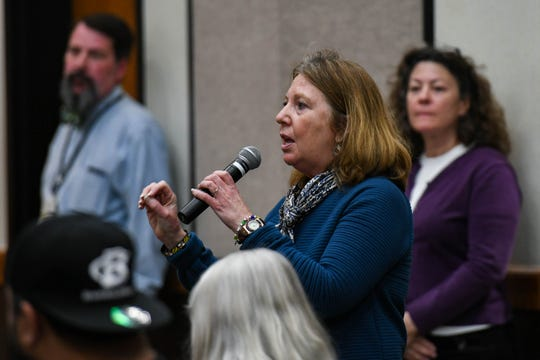 Senator Mary Beth Carozza, R-38-Worcester, speaks at a meeting about the poultry air quality monitoring plan at the University of Maryland Eastern Shore on Thursday, April 25, 2019. She asked that the state be transparent and open to questions about the plan.