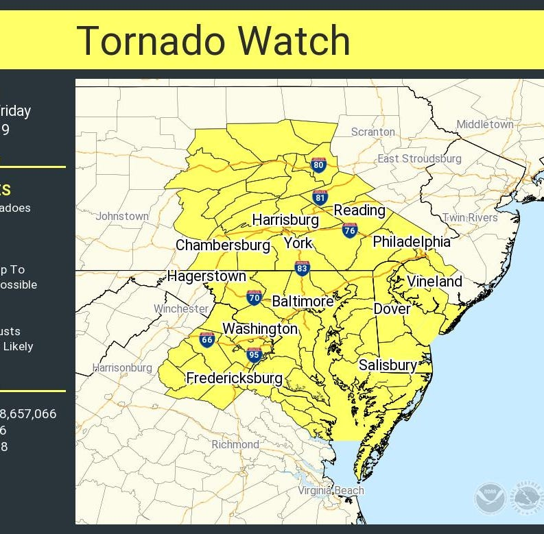 Tornado watch in place for Maryland, Delaware, Virginia until 9 p.m.