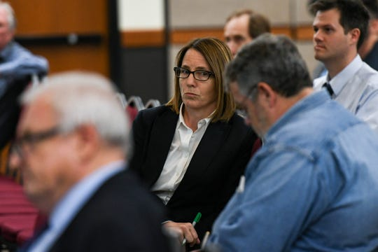Suzanne Dorsey, assistant secretary of the Maryland Department of the Environment, listens at a meeting about the poultry air quality monitoring plan at the University of Maryland Eastern Shore on Thursday, April 25, 2019.