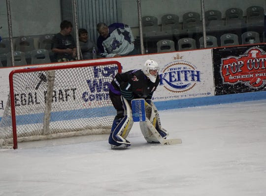 Shreveport goaltender Leo Chuard made 31 saves in a Game 1 victory at Amarillo in the NAHL South Division Final.