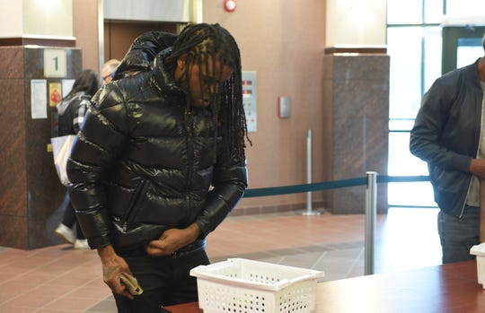 Keith Cozart, known as Chief Keef, arrives at court at the Minnehaha County Courthouse in SIoux Falls on April 26, 2019, on a drug charge from 2017.