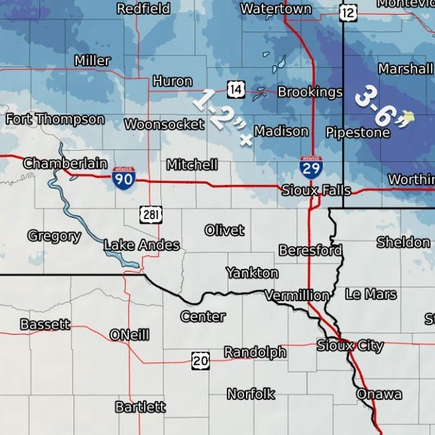 Parts of east central South Dakota under winter weather advisory