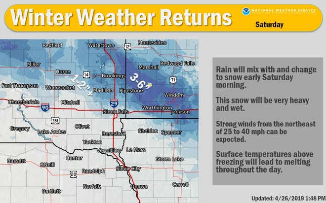 A winter weather advisory will be in effect for parts of east central South Dakota on Saturday, the National Weather Service says.
